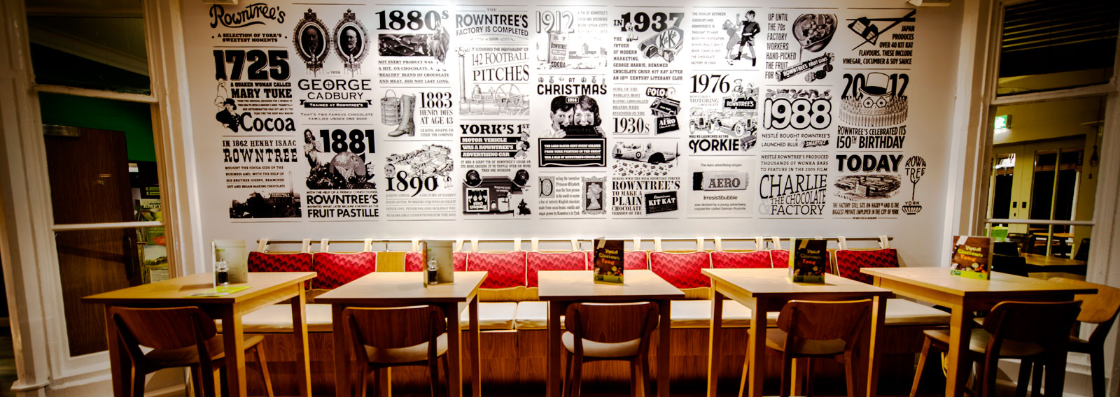 large typographical wall graphic for youth hostel association